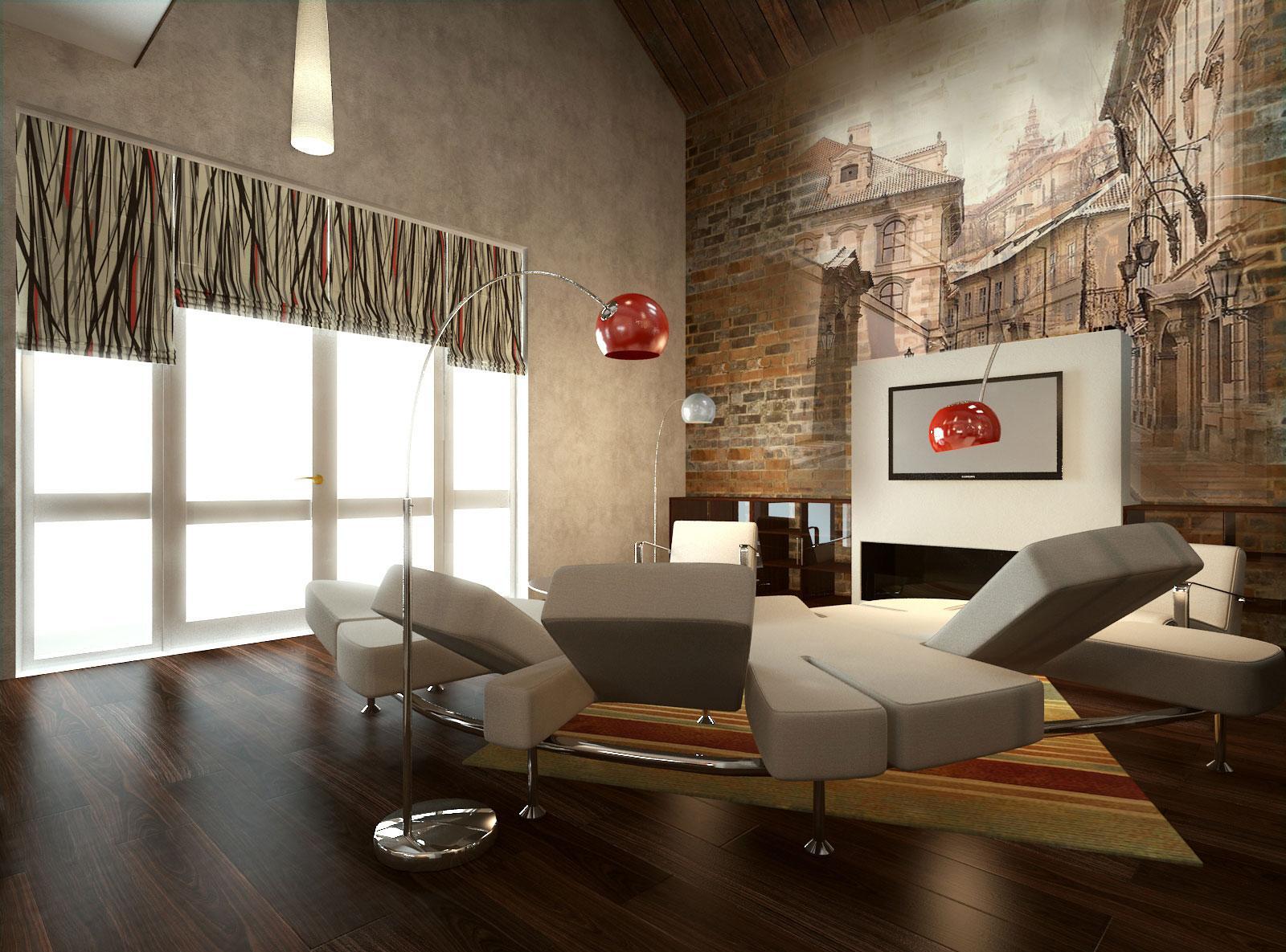 Фотообои в гостиной с изображением старинного города