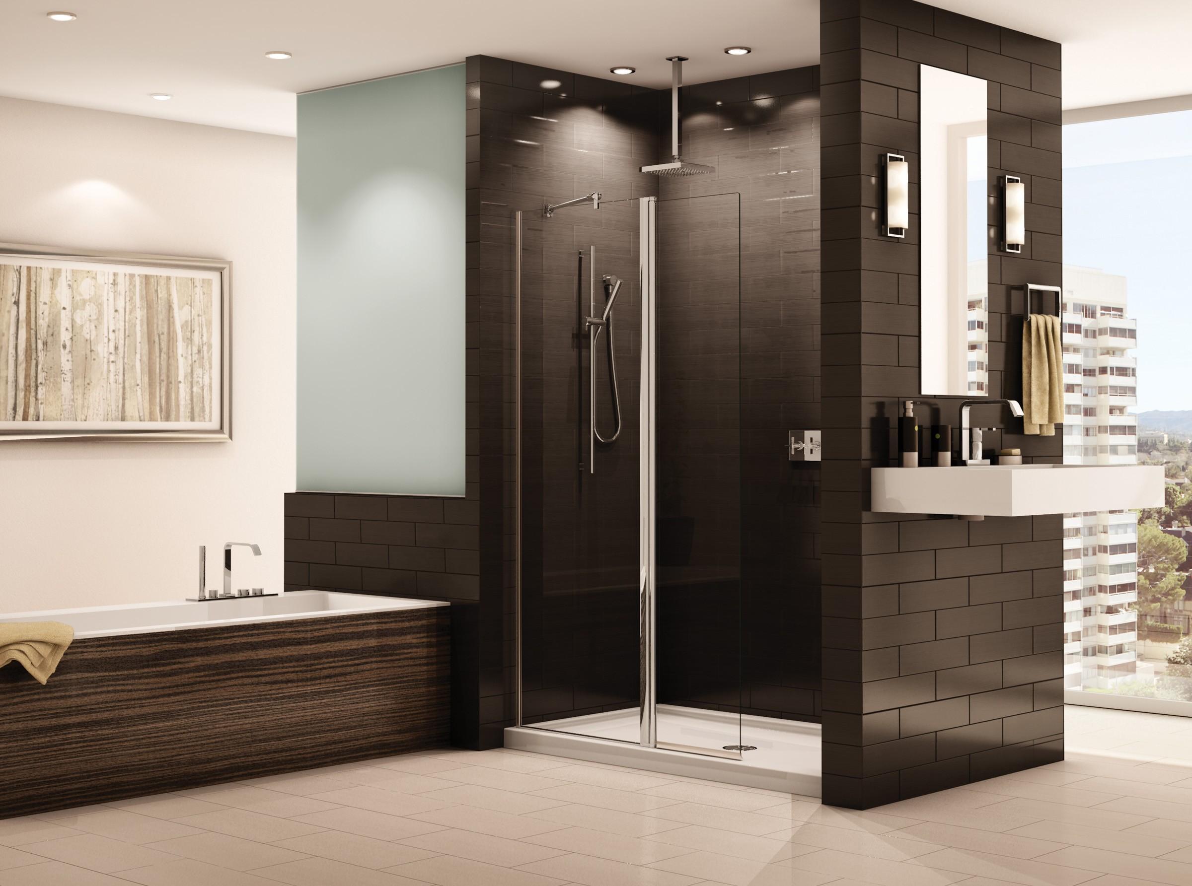 Душ в интерьере ванной в коричневых тонах