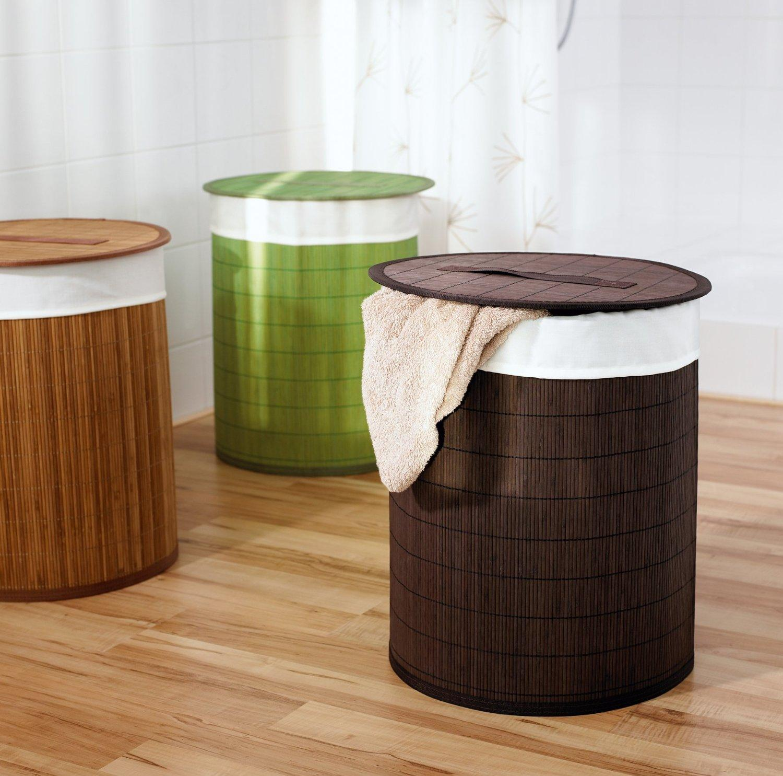 Круглые корзины для белья в ванной