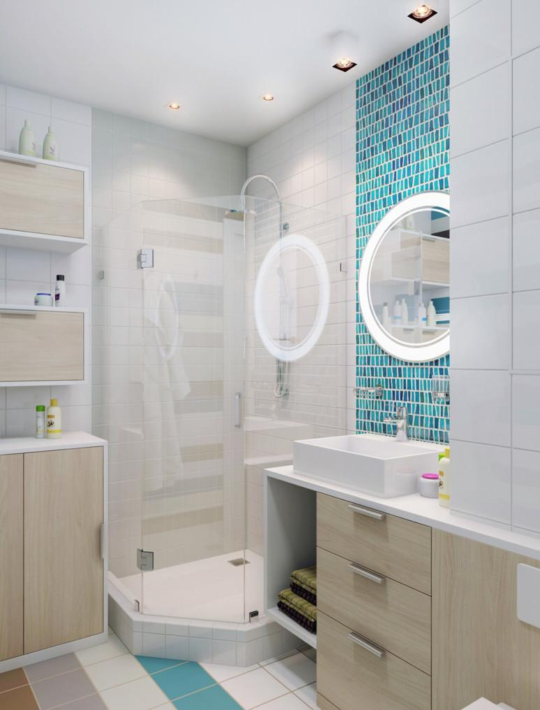 Угловая стеклянная душевая в небольшой ванной
