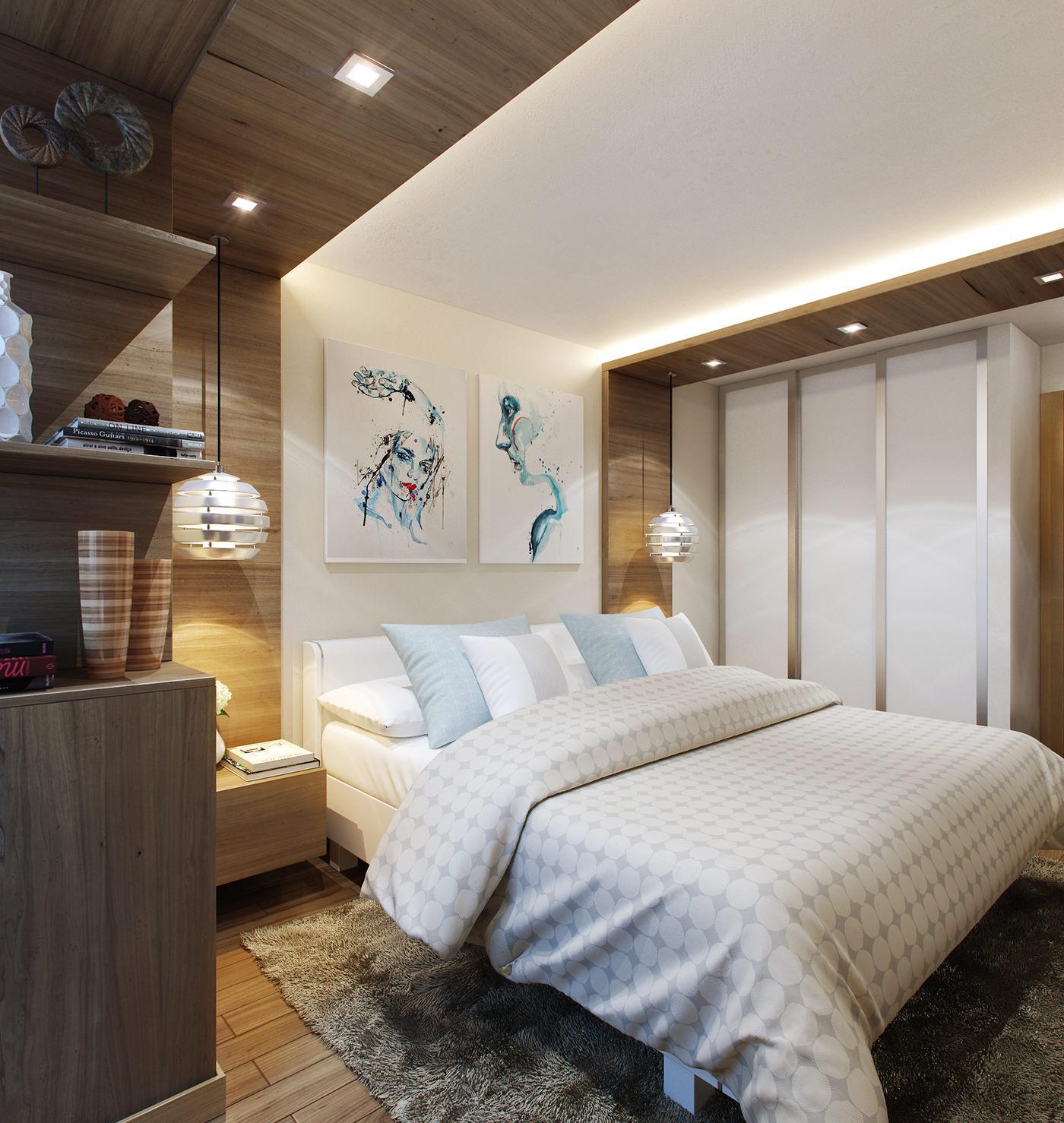 Голубые акценты в бело-коричневой спальне