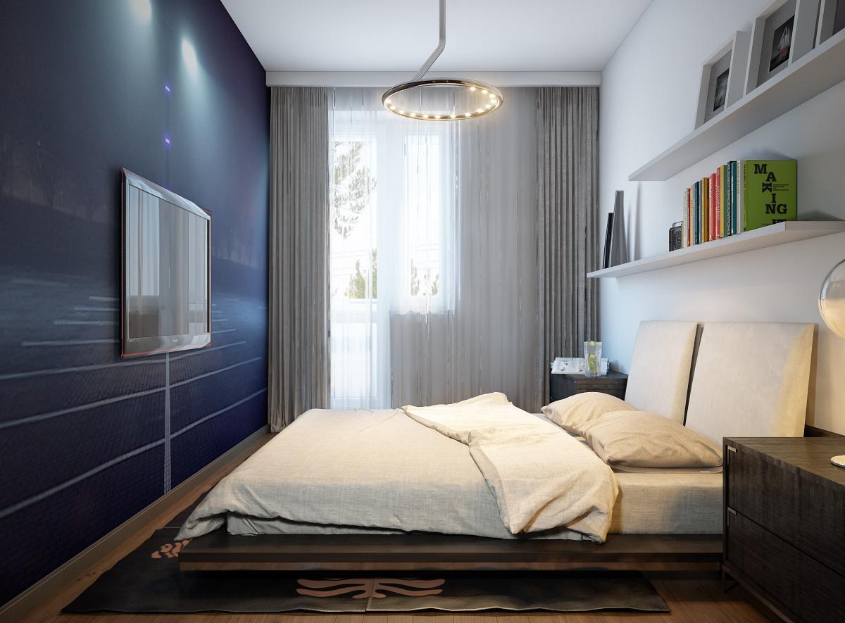 Белый, коричневый и черный цвета в интерьере спальни