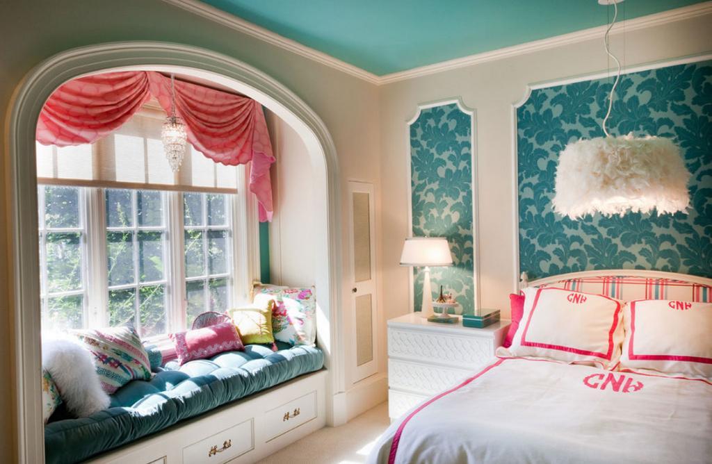 Голубые обои для комнаты подростка