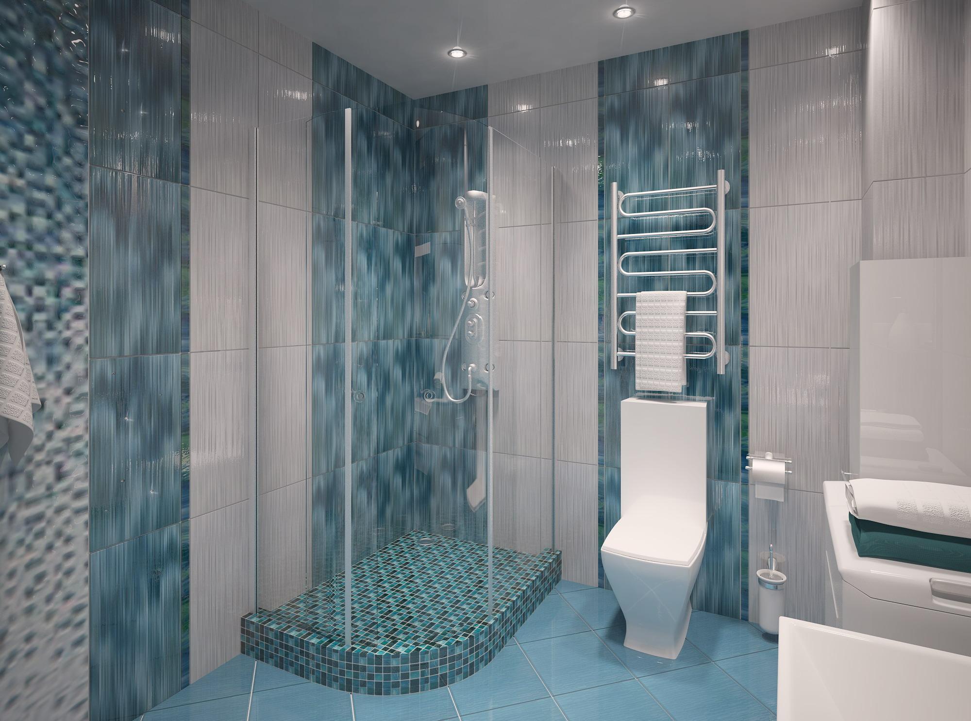 Изумрудно-белая ванная комната с душевой