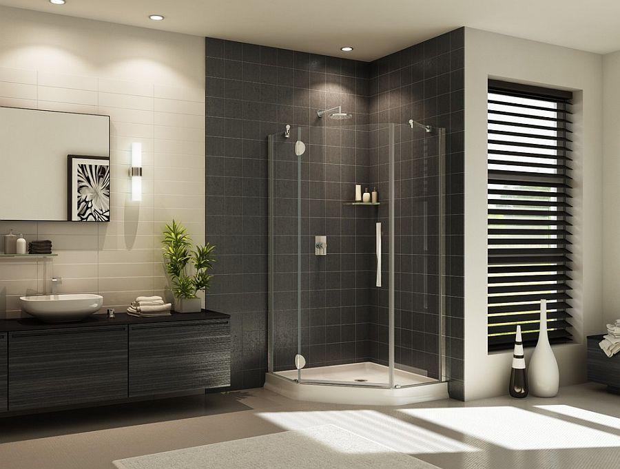 Интерьер ванной комнаты с душем в стиле модерн