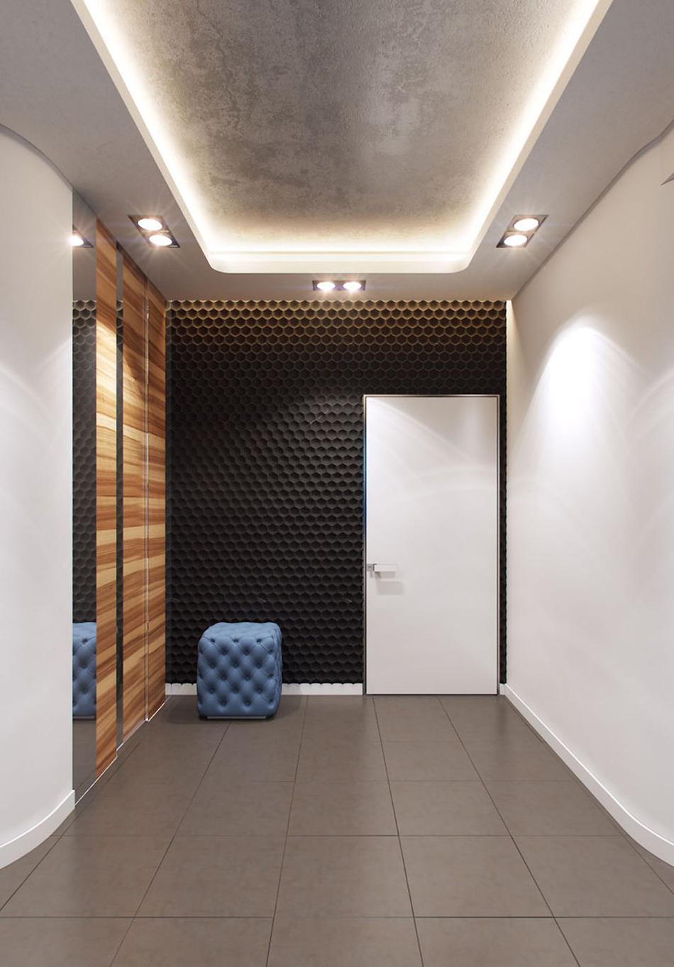 Двухуровневый потолок с точечным освещением и подсветкой в коридоре