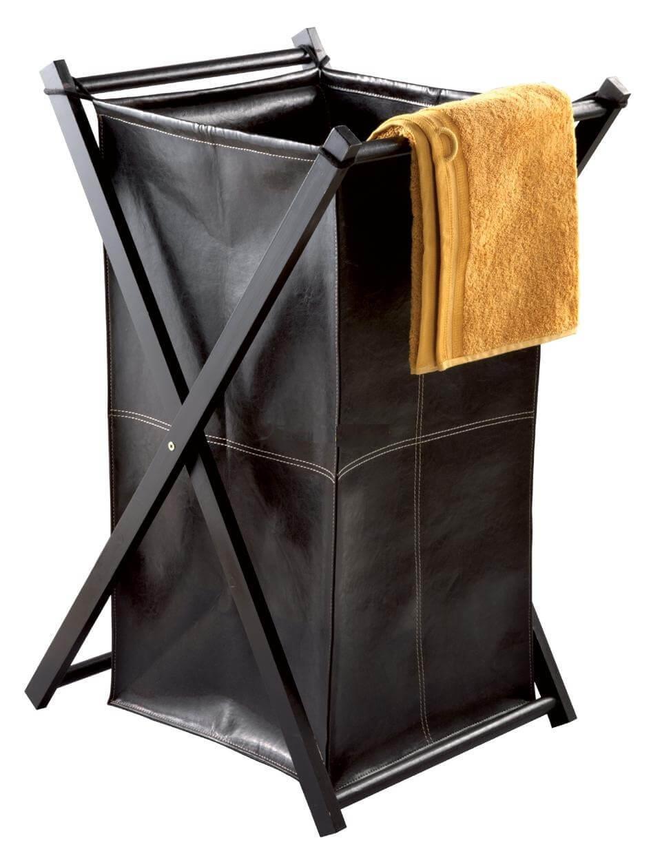 Кожаная черная корзина для белья в ванную