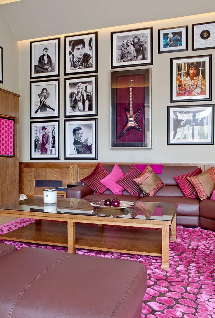 Розовые подушки в интерьере
