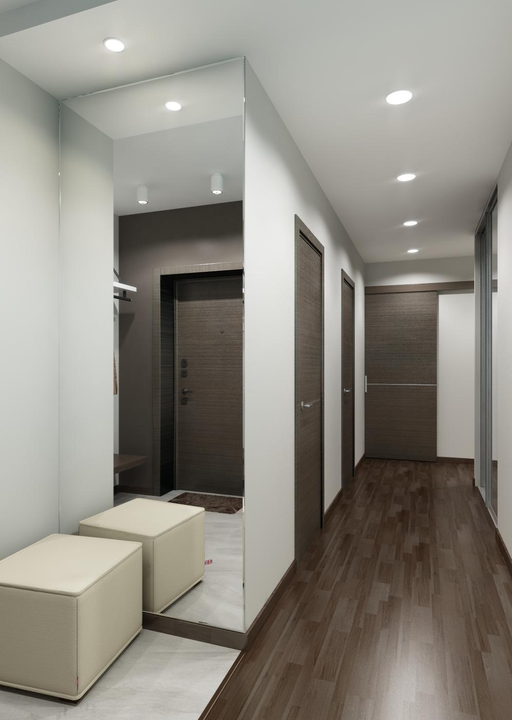 Точечные светильники в коридоре в стиле хай-тек