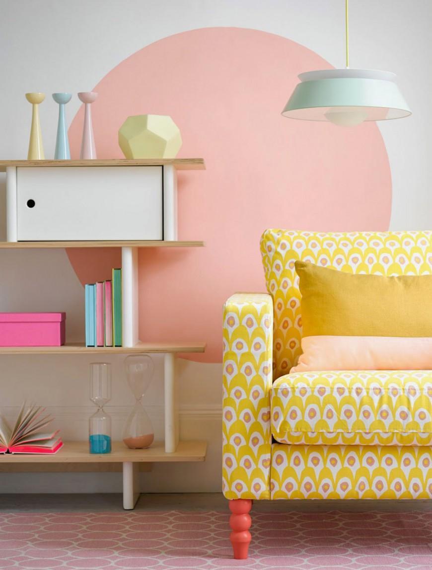 Розовый и желтый в гостиной