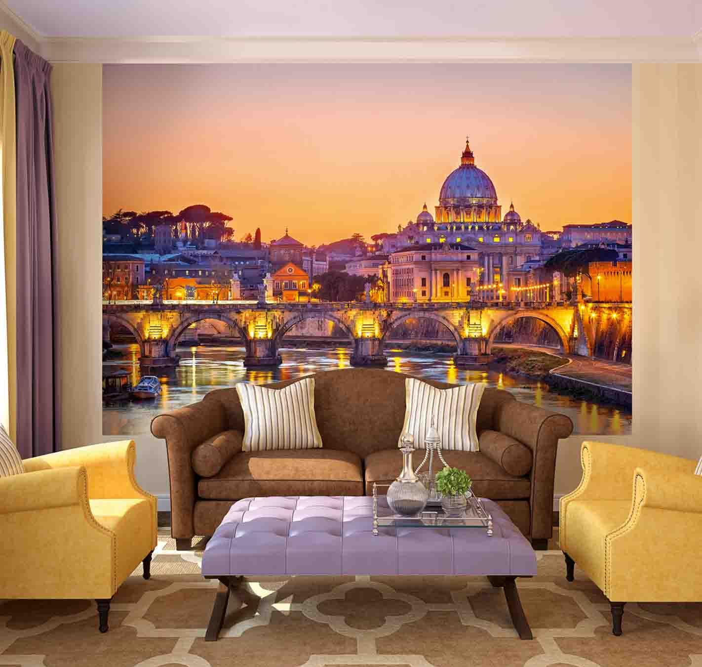 Фотообои в гостиной с изображением города