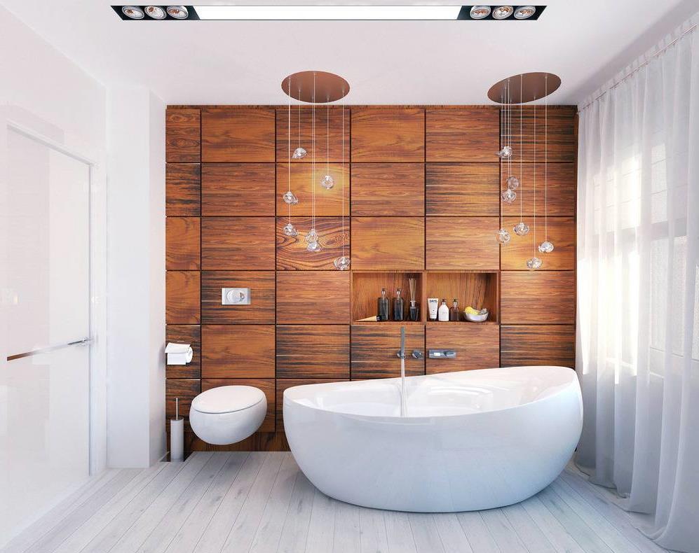 Деревянные панели в интерьере ванной