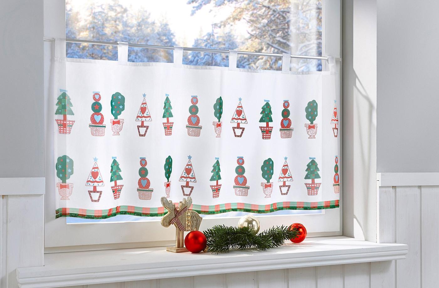 Короткие новогодние занавески для кухни
