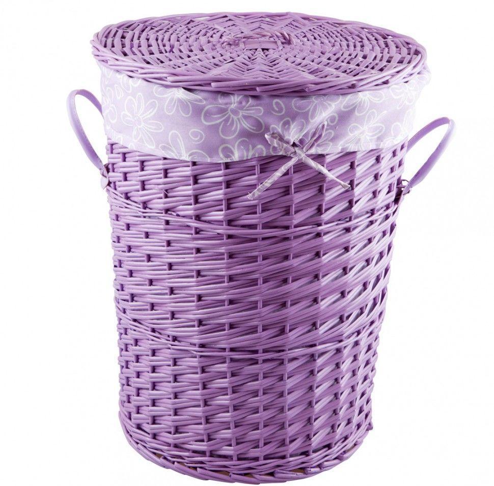 Сиреневая плетеная круглая корзина для белья в ванную