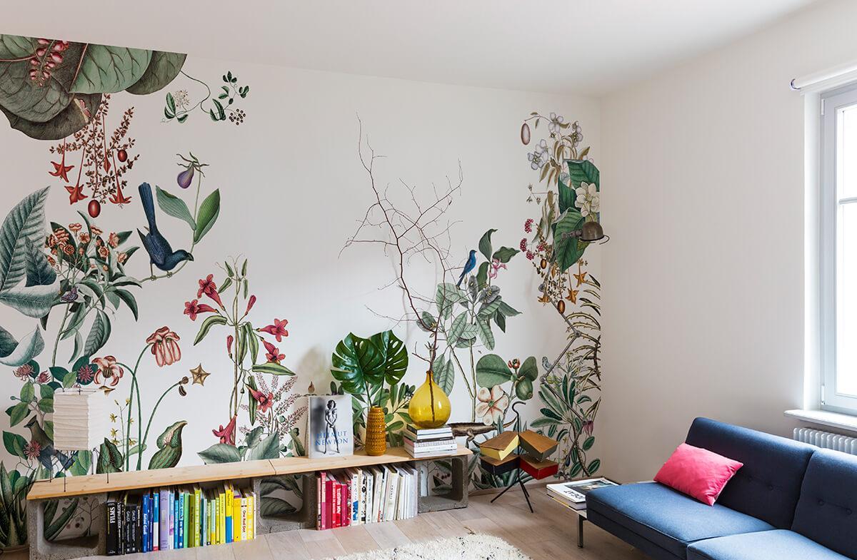 Дизайн обоев в тропическом стиле