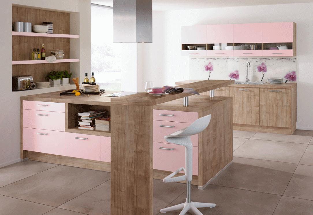 Розовый и коричневый на кухне