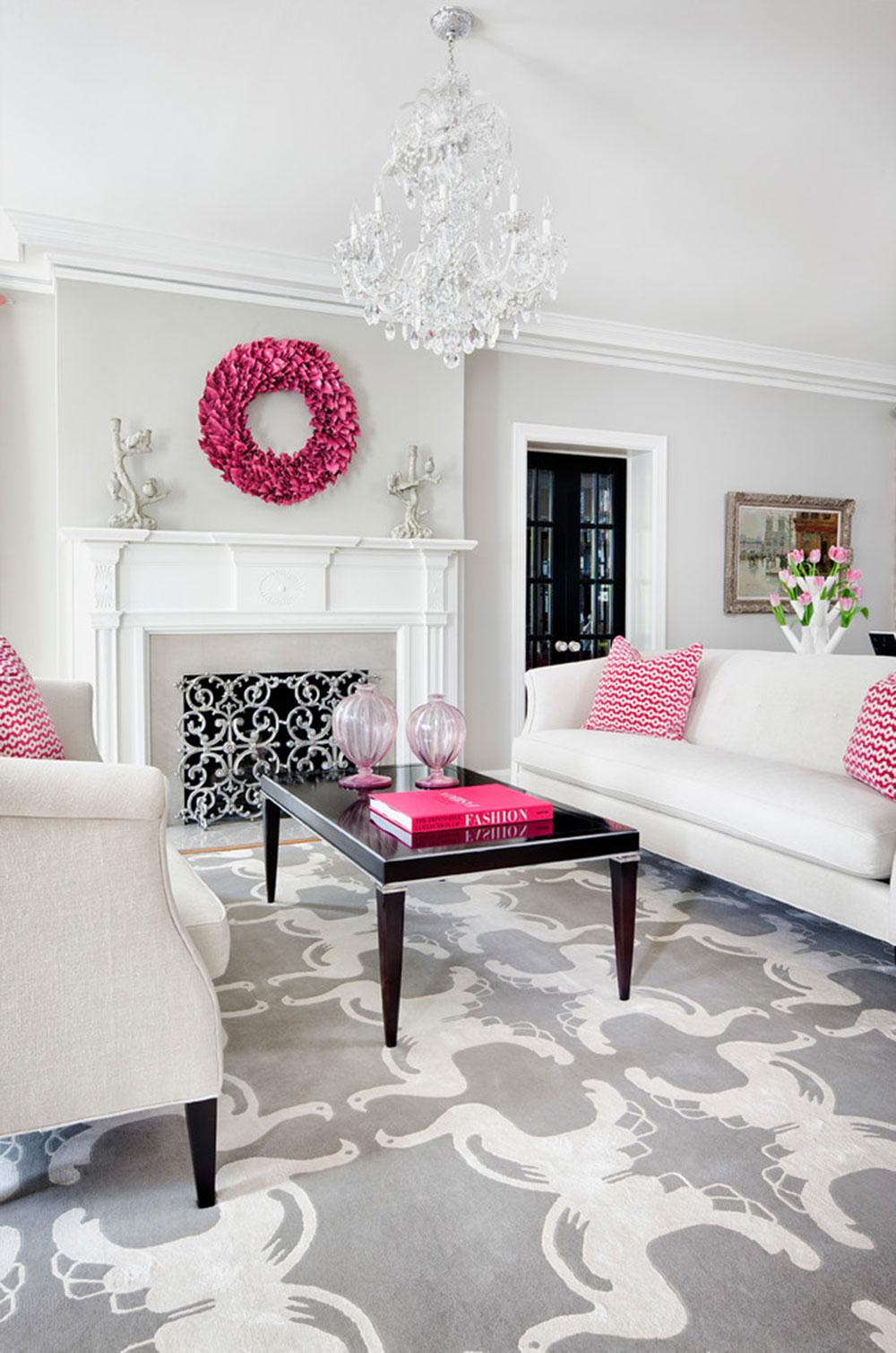 Гостиная с розовыми акцентами
