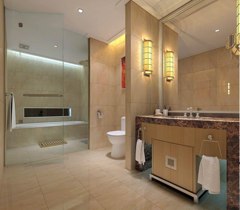 Душевая и ванная за стеклом