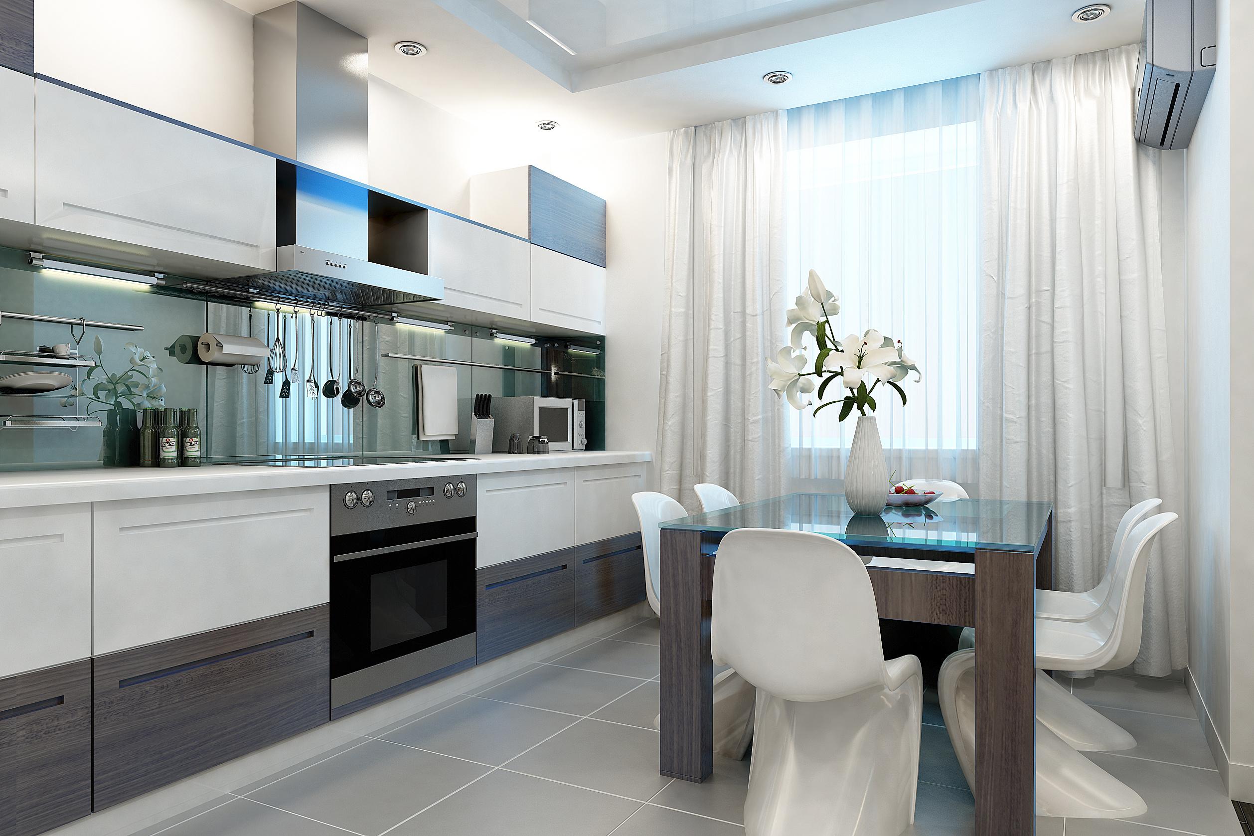 Дизайн штор для кухни белых