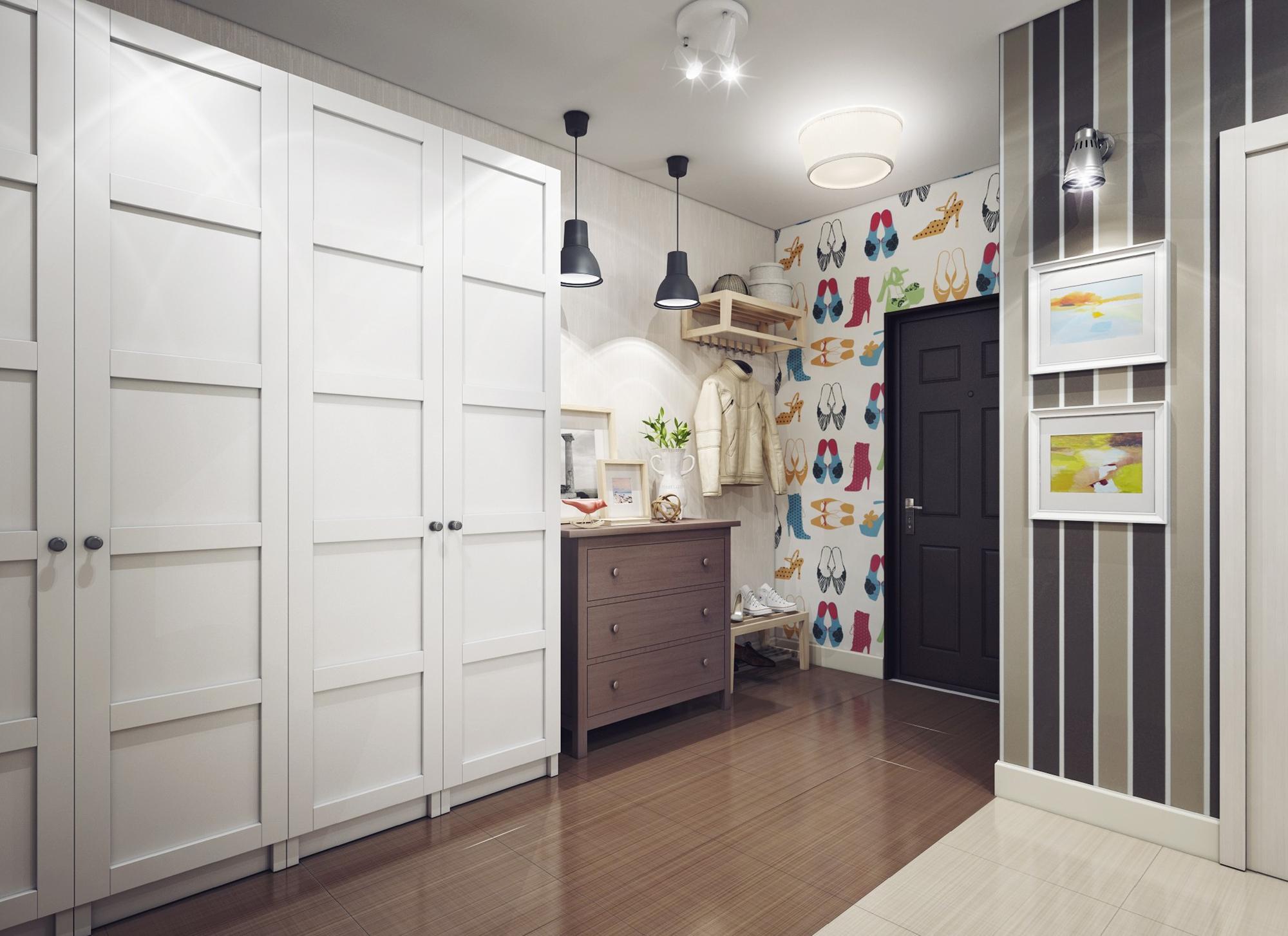 Разнотипное освещение коридора квартиры