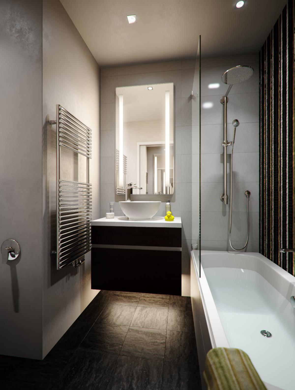 Уютное освещение в интерьере ванной