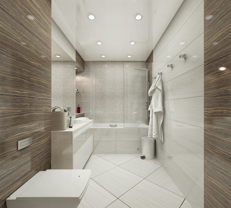 Плитка под камень и дерево в дизайне ванной комнаты