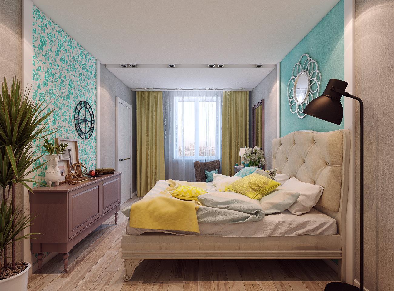 Желтые и бирюзовые акценты в спальне