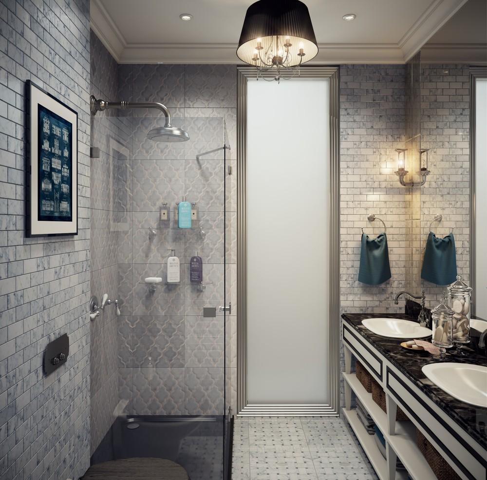 Дизайн в ванной в стиле арт-деко