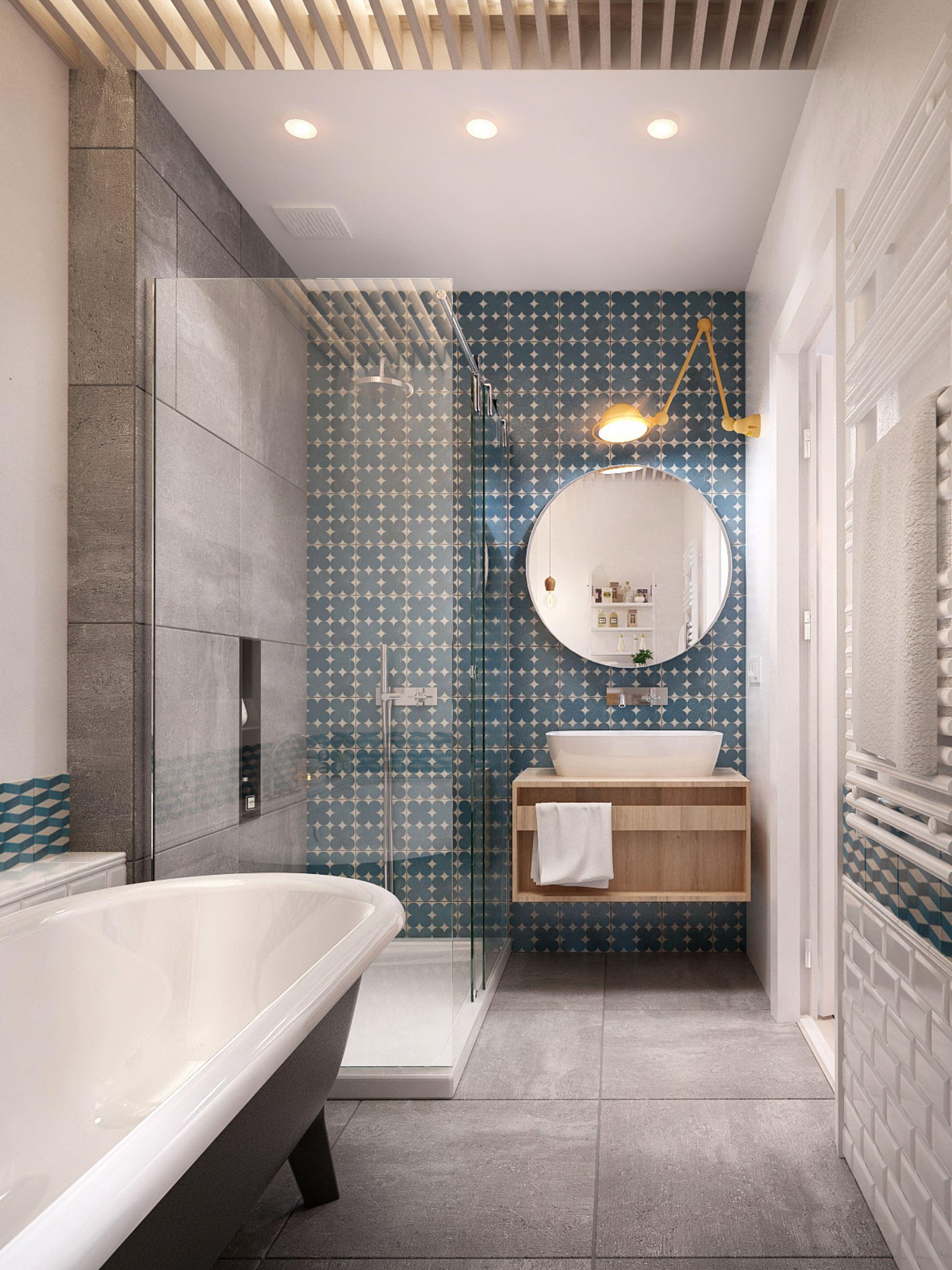 Ванная 6 кв м с геометрической плиткой