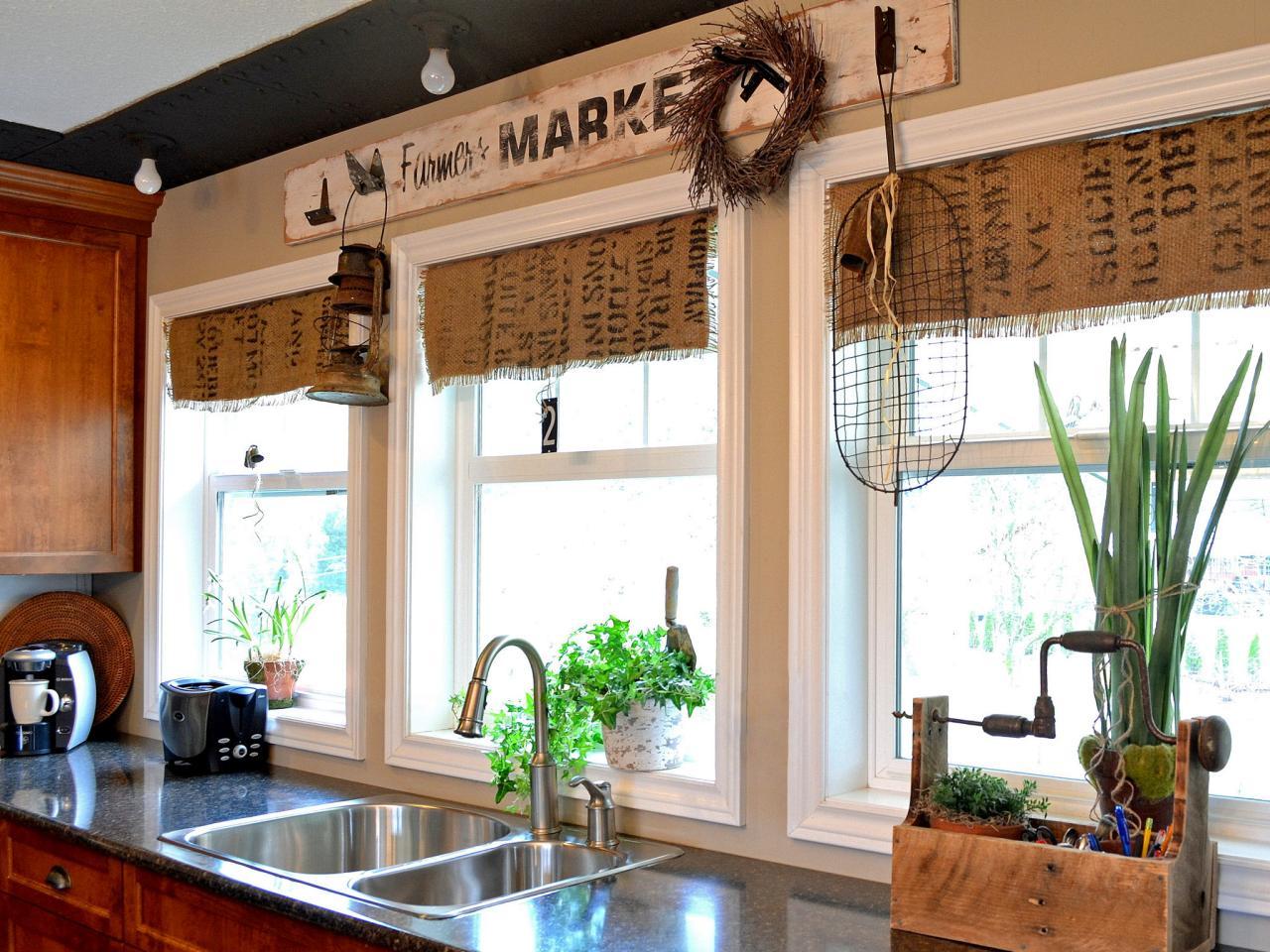 Дизайн штор для кухни из мешковины