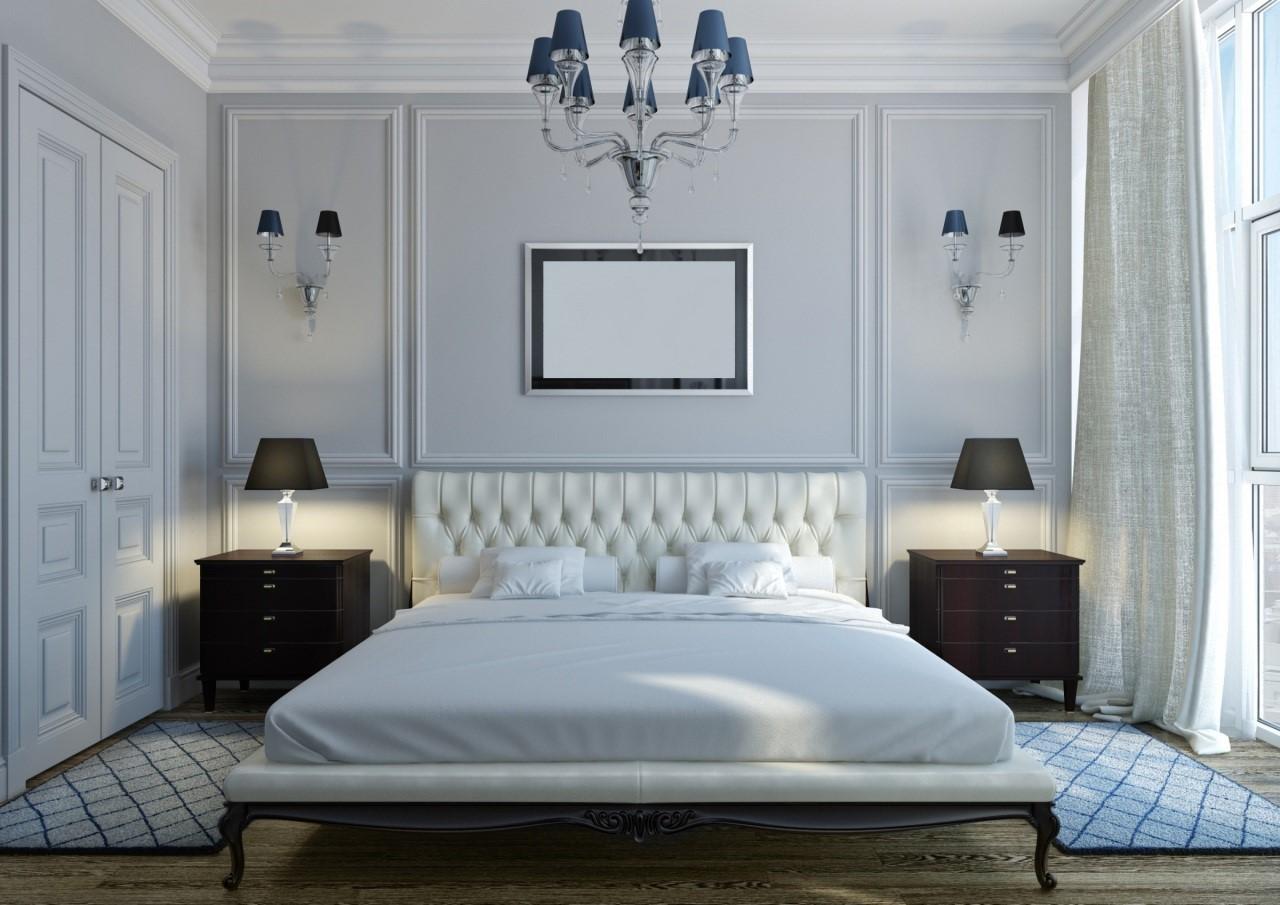 Спальня 12 кв м в неоклассическом стиле