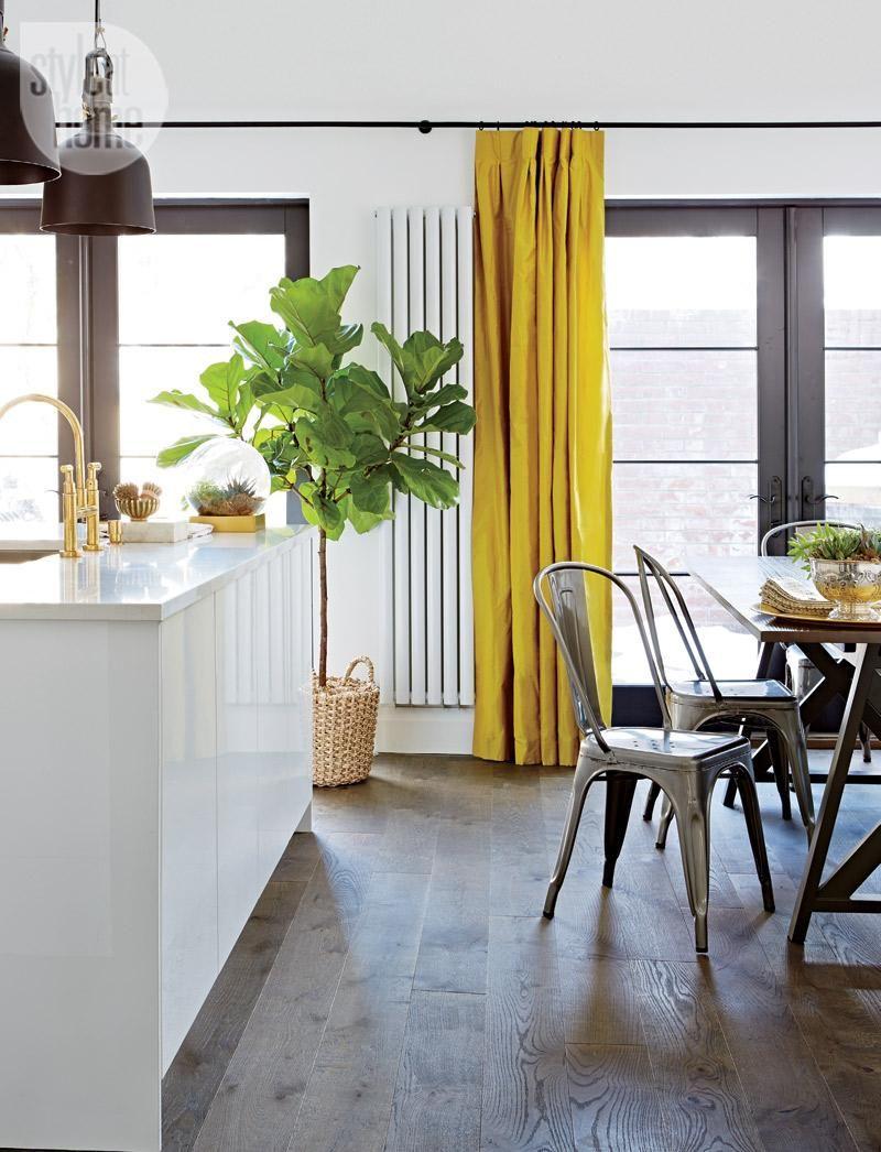 Дизайн штор для кухни желтый