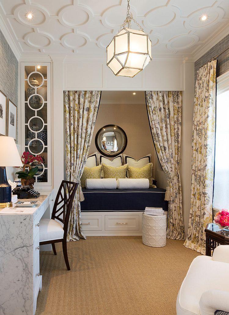 Спальня с письменным столом под мрамор