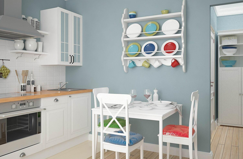 Бело-коричневая мебель в небольшой кухне