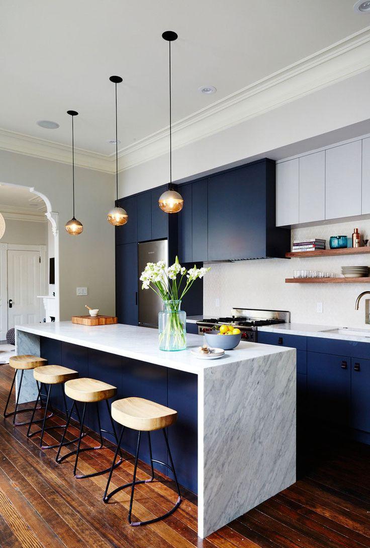 Дизайн кухни синий 2017