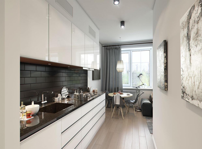 Стильная небольшая черно-белая кухня