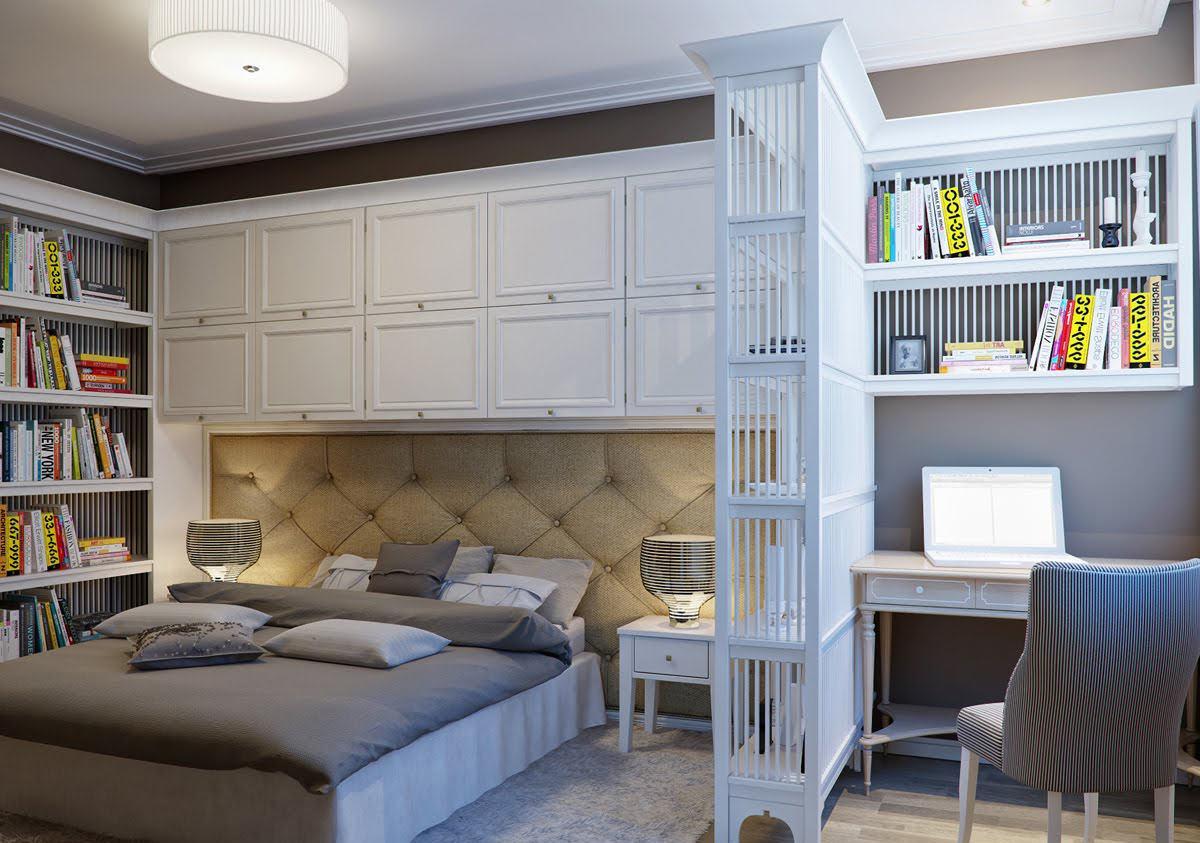Перегородка с полками для разделения пространства спальни и рабочей зоны