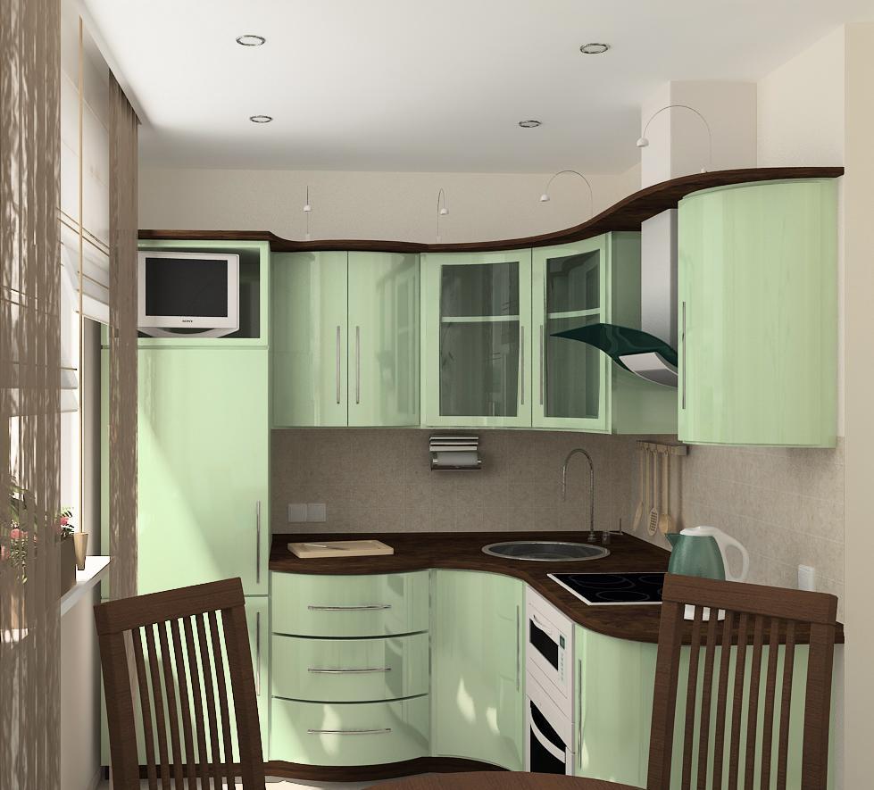 Коричнево-зеленый маленький гарнитур на кухне