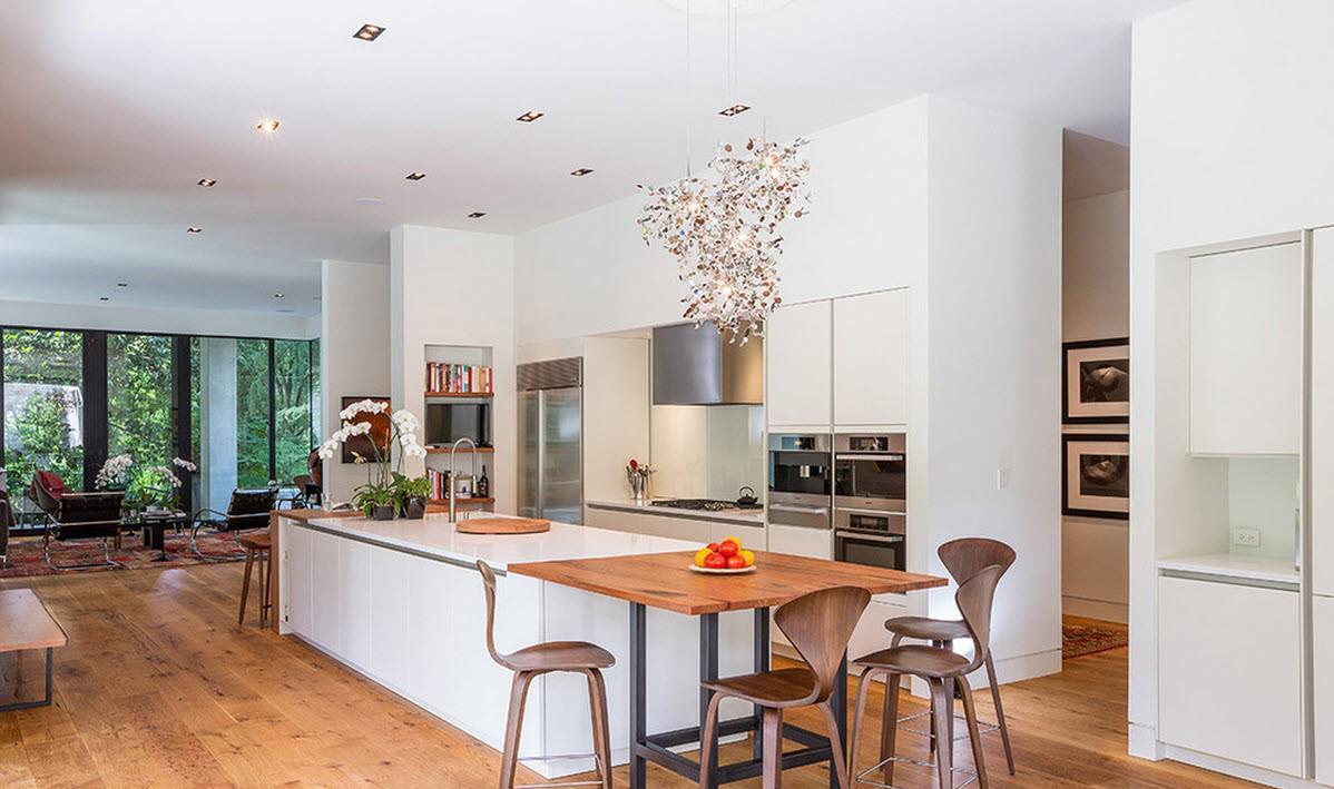 Коричнево-белая гостиная-кухня
