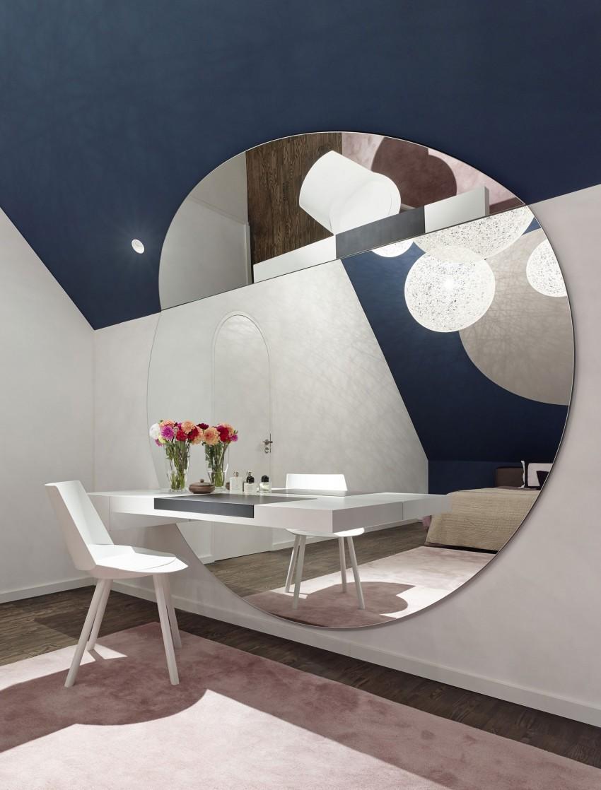 Стильное круглое зеркало в интерьере