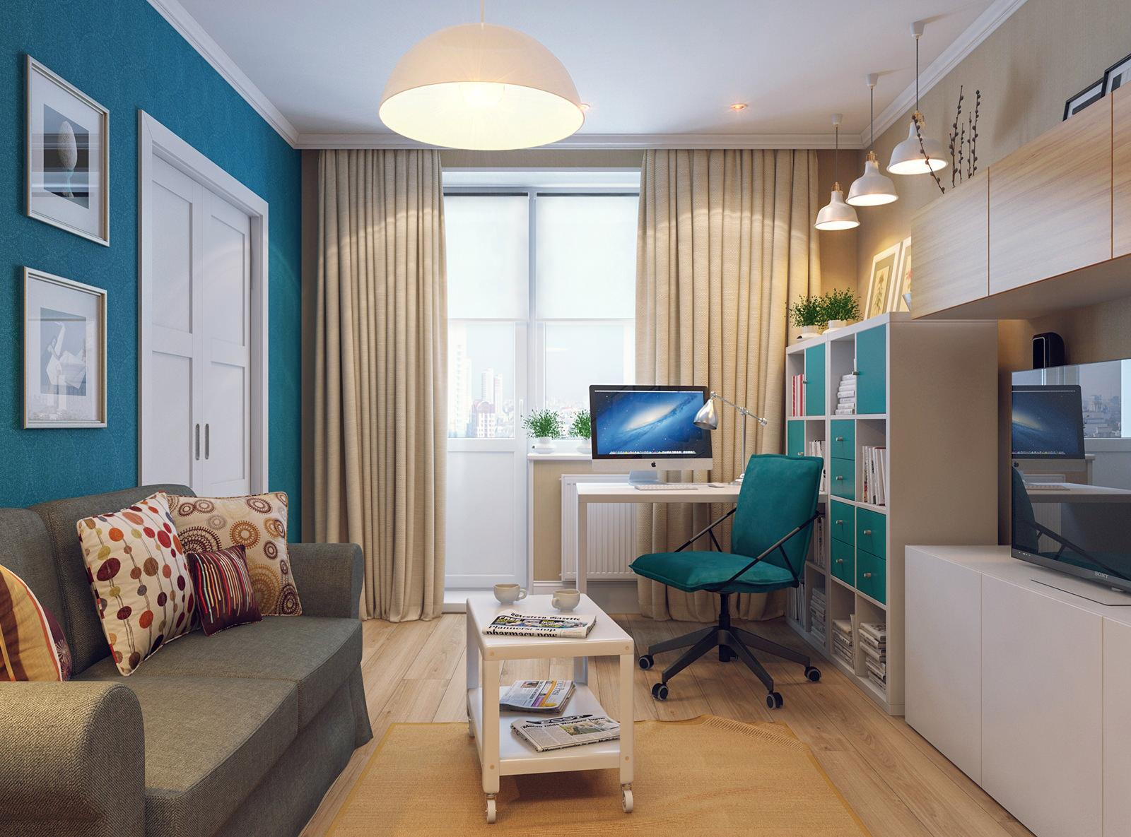 Кремово-изумрудная гостиная с рабочим местом