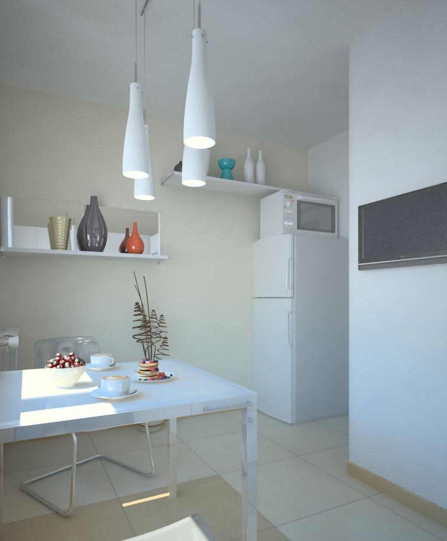 Кухня в бело-бежевых тонах