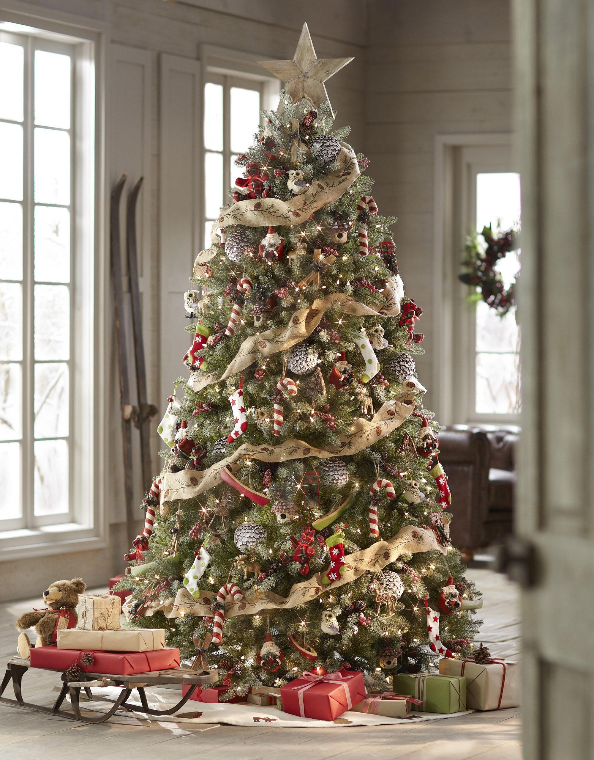 Красивое оформление елки на Новый год в традиционном стиле