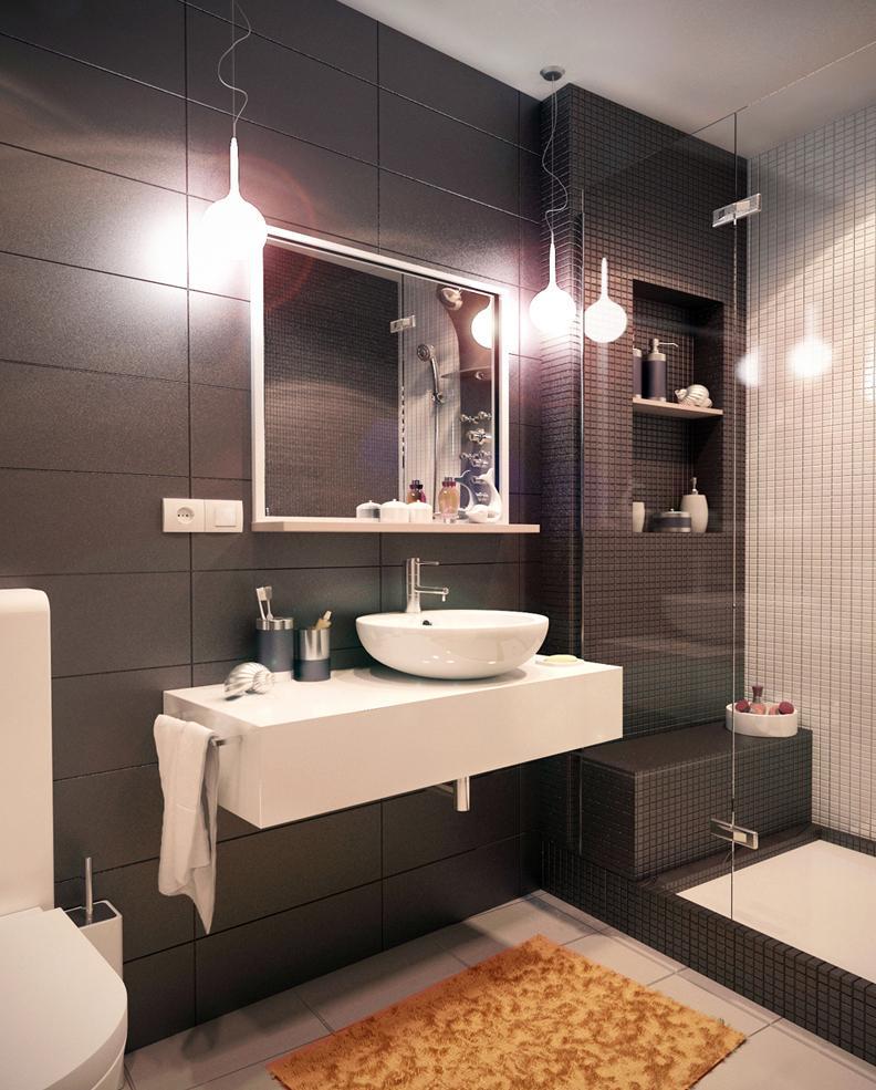 Современная черно-белая ванная комната