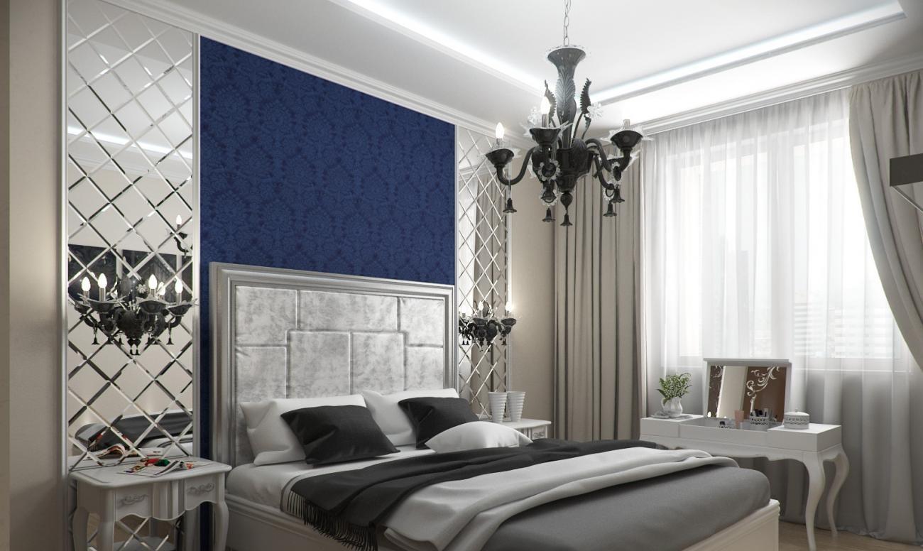 Зеркальные панели в спальне