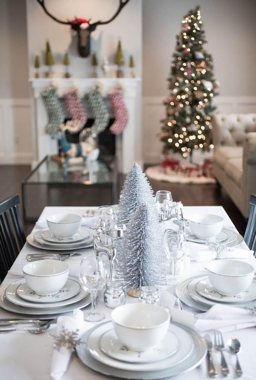 Украшение новогоднего стола 2020 серебряное