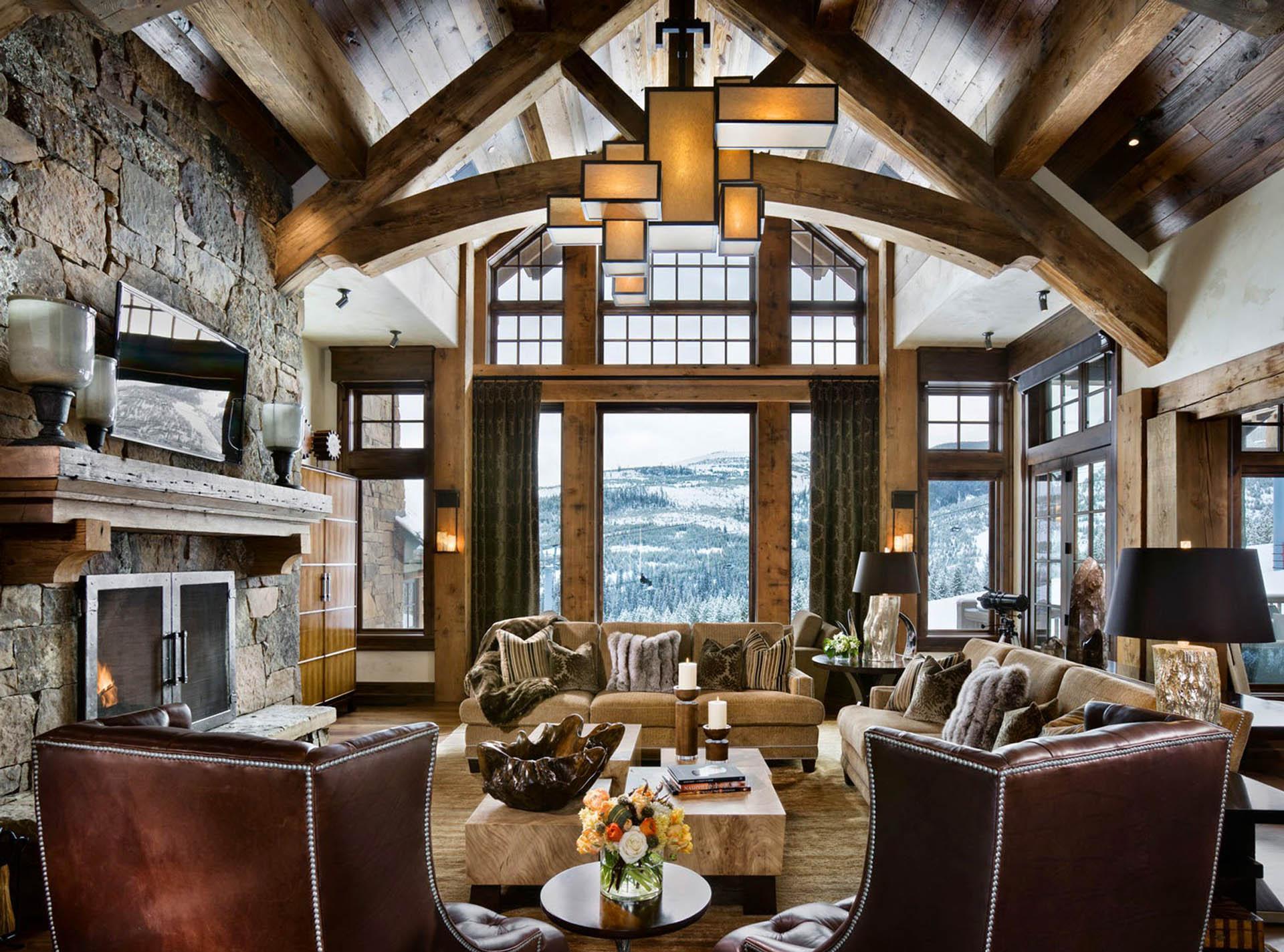 Интерьер горного дома в стиле шале