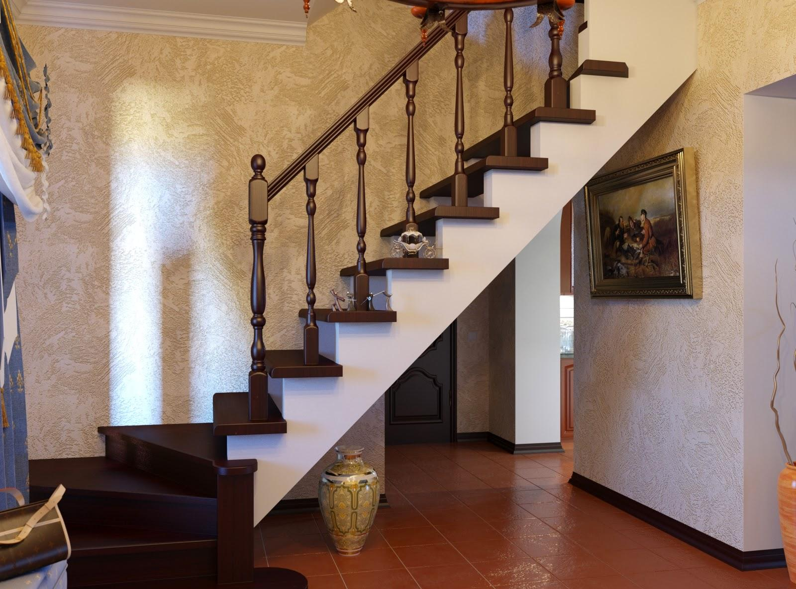 Оформление лестницы на второй этаж на даче