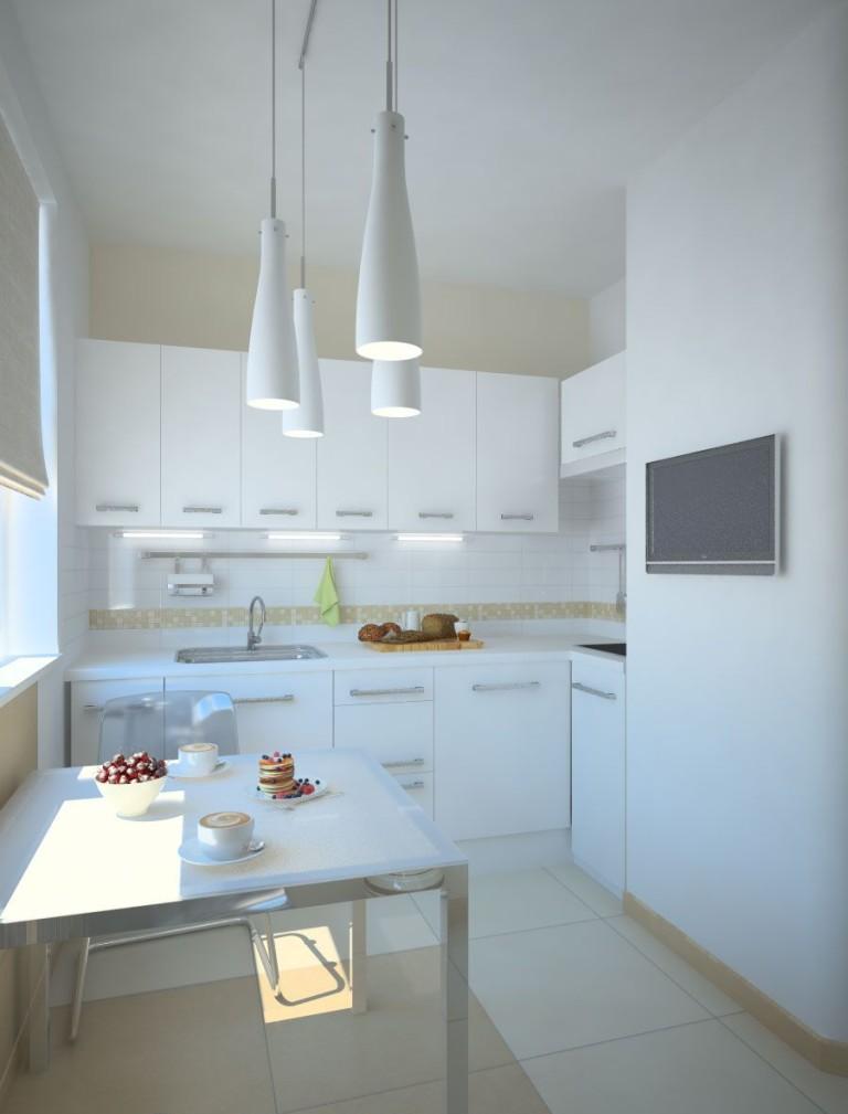 Бело-кремовая маленькая кухня