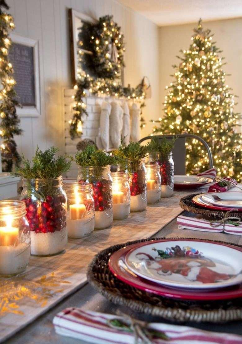 Украшение новогоднего стола 2020 в рустикальном стиле